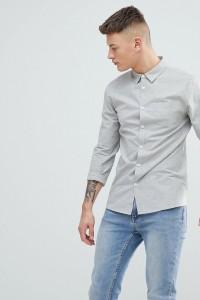 Another Influence - Schlichtes Chambray-Hemd mit langem Arm - Grau - Farbe:Grau