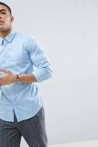 United Colors of Benetton - Schmal geschnittenes Stretch-Hemd in Blau - Blau - Farbe:Blau
