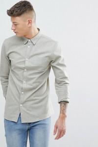 Another Influence - Schlichtes Chambray-Hemd mit langem Arm - Grün - Farbe:Grün