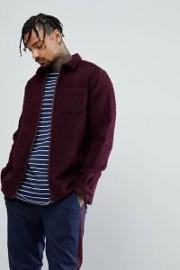 ASOS - Burgunderrote Hemdjacke aus Wollmix - Rot - Farbe:Rot