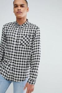 Another Influence - Kariertes Hemd in Schwarz und Weiß - Schwarz - Farbe:Schwarz