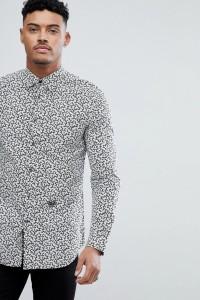 Diesel - S-DUNY - Hemd mit Musterdruck in Schwarz - Schwarz - Farbe:Schwarz