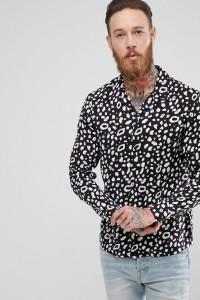AllSaints - Schwarzes Hemd mit Animal-Print - Schwarz - Farbe:Schwarz