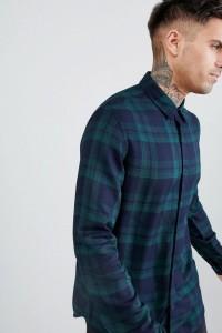 Another Influence - Grün kariertes Hemd aus Viskose - Navy - Farbe:Navy