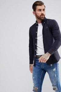 Farah - Brewer - Schmal geschnittenes Oxford-Hemd in Marineblau - Navy - Farbe:Navy