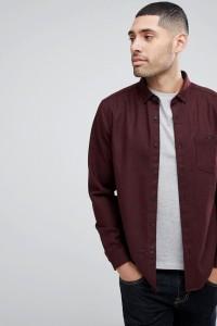 ASOS - Burgunderrote Hemdjacke aus Wollmix mit Fischgrätenmuster - Rot - Farbe:Rot