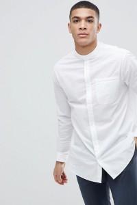 Armani Exchange - Weißes Popeline-Hemd in lockerer Passform mit Grandadkragen - Weiß - Farbe:Weiß