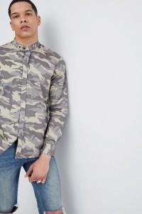 Antony Morato - Hemd mit Grandad-Kragen und Military-Muster - Grün - Farbe:Grün