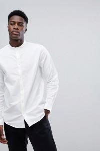 Weekday - Haring - Twillhemd mit Henleykragen - Weiß - Farbe:Weiß