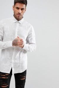 Armani Exchange - Hemd in gebrochenem Weiß mit durchgängigem Palmenprint - Weiß - Farbe:Weiß