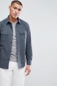 Abercrombie & Fitch - Chamois - Graues Hemd aus schwerer Baumwolle