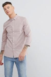 Another Influence - Schlichtes Chambray-Hemd mit langem Arm - Rosa - Farbe:Rosa