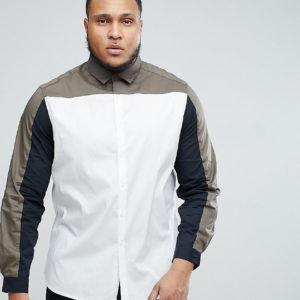 ASOS PLUS – Schmal geschnittenes Stretch-Hemd mit abgesetzter Bahn in Khaki – Weiß