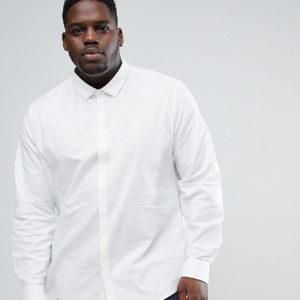 ASOS PLUS – Schmales, elegantes Oxford-Hemd mit doppelten Manschetten – Weiß