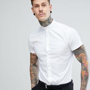 Heart & Dagger – Kurzärmliges Hemd mit Grandad-Kragen und enger Passform – Weiß