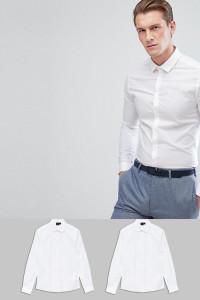 ASOS - 2er Pack enge Hemden