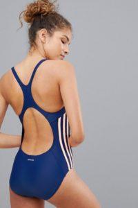 adidas - Blauer Badeanzug mit drei Streifen - Blau - Farbe:Blau
