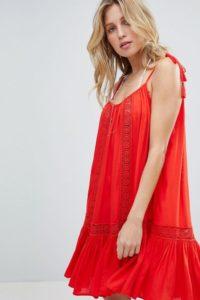 Accessorize - Strandkleid mit Trägern und Spitzeneinsatz - Rot - Farbe:Rot