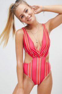 Missguided - Badeanzug mit tiefem Ausschnitt und unterschiedlichen Streifen - Mehrfarbig - Farbe:Mehrfarbig