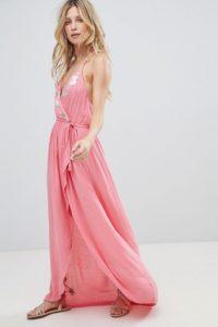 Accessorize - Maxi-Strandkleid in Wickeloptik - Rosa - Farbe:Rosa