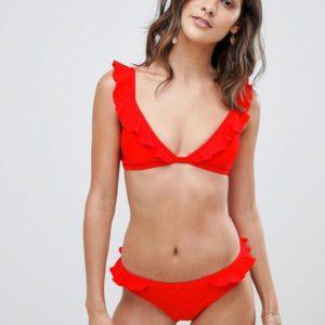 Warehouse – Rote Bikinihose mit Rüschen – Rot