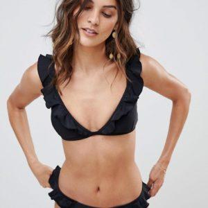 Warehouse – Schwarze Bikinihose mit Rüschen – Schwarz
