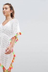 Akasa - Buntfarbiger Strand-Kaftan mit Quasten - Weiß - Farbe:Weiß