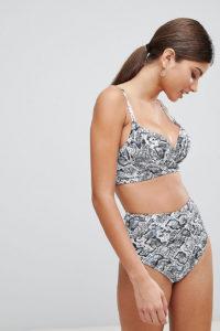 Wolf & Whistle - Bikinihose mit hoher Taille und Schlangenmuster - Mehrfarbig - Farbe:Mehrfarbig
