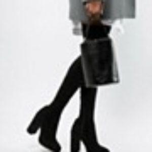 ASOS DESIGN Petite – Kassidy – Overknee-Stiefel mit Absatz – Schwarz