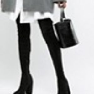 ASOS DESIGN Tall – Kassidy – Overknee-Stiefel mit Absatz – Schwarz