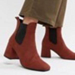 New Look – Ankle-Boots mit Absatz und eckiger Zehenpartie – Orange