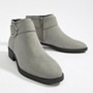 New Look – Ankle-Boot mit Schnalle – Grau