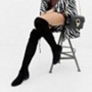 New Look – Flacher Overknee-Stiefel – Schwarz