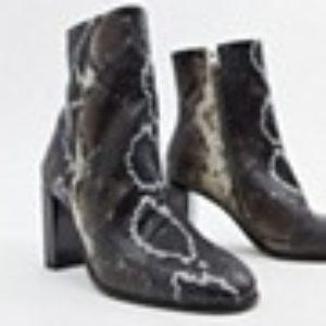 AllSaints – Roka – Stiefel mit Schlangeneffekt – Mehrfarbig