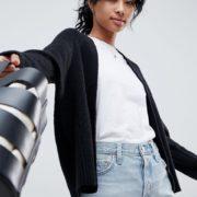 ASOS DESIGN - Eco - Strickjacke aus Flauschgarn - Schwarz - Farbe:Schwarz