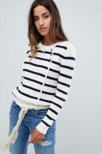 Abercrombie & Fitch - Gestreifter Pullover mit Knopfleiste - Mehrfarbig - Farbe:Mehrfarbig