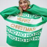 ASOS DESIGN - Weihnachtspullover mit Schriftzug und Pailletten - Mehrfarbig - Farbe:Mehrfarbig