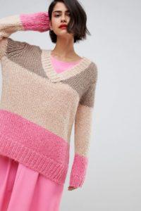 2NDDAY - Dicker Pullover mit V-Ausschnitt und Farbblockdesign - Mehrfarbig - Farbe:Mehrfarbig