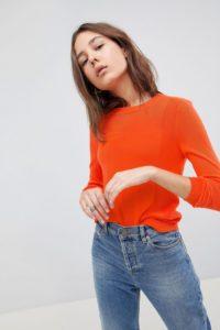 ASOS - Pullover mit Rundhalsausschnitt und Bahnendetail - Orange - Farbe:Orange