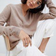 ASOS WHITE - Pullover mit V-Ausschnitt aus 100% Kaschmir - Beige - Farbe:Beige