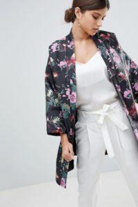 ASOS - Kimono-Jacke aus Jacquard mit dunklem Blumenmuster - Mehrfarbig - Farbe:Mehrfarbig