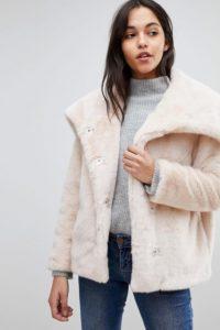 ASOS - Jacke mit Kunstfellkragen - Rosa - Farbe:Rosa