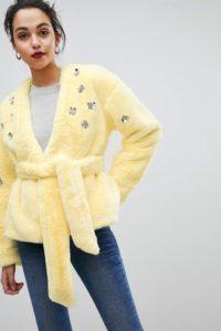 ASOS - Jacke aus Kunstpelz - Gelb - Farbe:Gelb