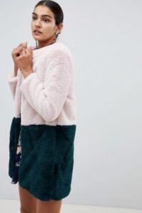 Angel Eye - Mantel aus Kunstfell mit Farbblockdesign - Mehrfarbig - Farbe:Mehrfarbig