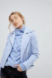 Miss Selfridge - Bikerjacke in Lederoptik - Blau - Farbe:Blau