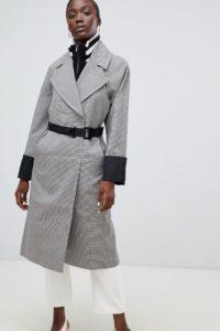 ASOS - Karierter Mantel mit geripptem Tunnelkragen mit Streifen und Gürtel - Mehrfarbig - Farbe:Mehrfarbig