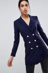 ASOS - Blazer mit Rüschendetail - Navy - Farbe:Navy
