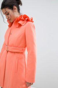 ASOS - Ausgestellter Mantel mit gerüschtem Kragen - Rosa - Farbe:Rosa