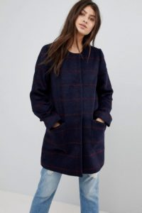 Abercrombie & Fitch - Kragenloser Wollmantel - Navy - Farbe:Navy