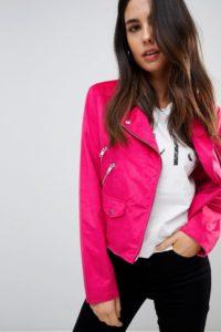 ASOS - Biker-Jacke in Wildlederoptik - Rosa - Farbe:Rosa